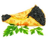 Caviar-stuffed pancake with greens isolated