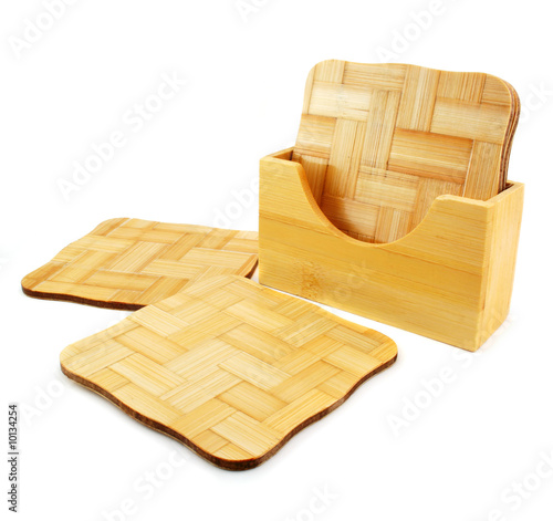 Set of wooden trivets isolated on a white background
