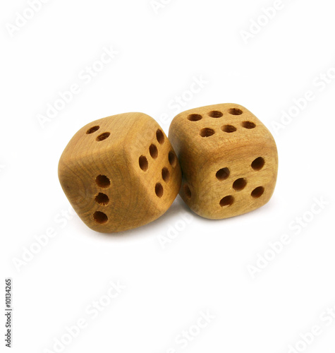 Wooden dice isolated on a white background