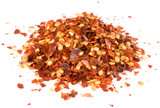 Heap of crushed chili isolated on white, macro lens used poster