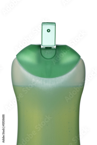 Plastic bottle with soap or shampoo isolated on white background
