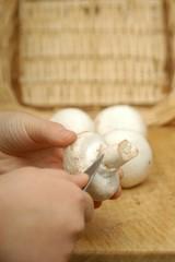 Champignons putzen und zerkleinern