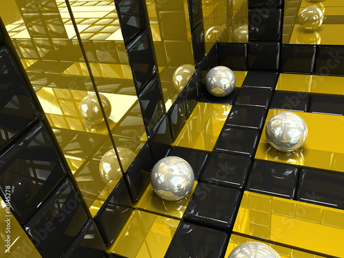 background silver and gold. squares and spheres