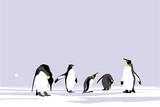 Emperor Penguins, easy editable vector collection