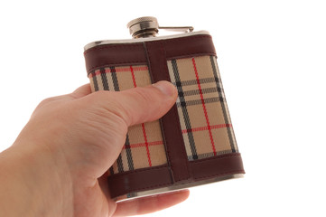 Whisky flask isolated on a white