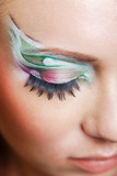 Fashion eye multicolored make-up close-up macro, shallow DOF