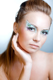 Fashion model with art eye make-up