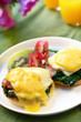 Eggs benedict.  Eggs, muffins, spinach, ham, hollandaise sauce.