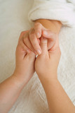 Beauty therapist hands massaging hands or manicure poster