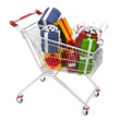 Photorealistic 3D shopping cart filled by gift