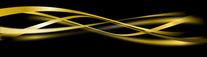 black background with yellow gold curves design decoraton