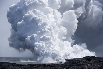flow of Lava on Hawai'i from Mt. Kilauea hitting the ocean