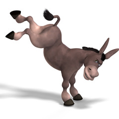 sweet cartoon donkey with pretty face over white and clipping Pa