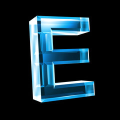letter E in blue glass 3D