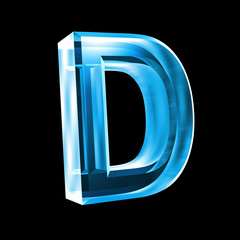 letter D in blue glass 3D