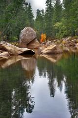 Small lake surrounded by fur-trees on stony coast