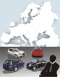 Cars and businessman on a background the card of Europe