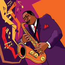 Ilustración vectorial original de un saxofonista en el escenario