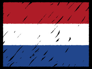 grunge Dutch flag on black illustration