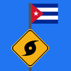 Hurricane sign and Cuba flag illustration