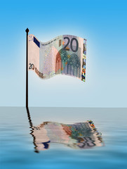 Simulated water effect on Euro note on flag pole