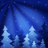The background showing fur-trees under a snowfall at night. poster