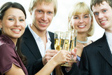 Two men and two women stay in line, hold tumblers with champagne poster