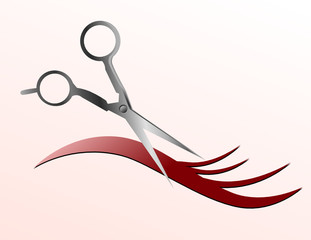 Scissors Cutting Hair Strand