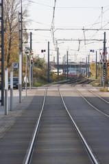 Schienen Gleisanlage Straßenbahngleisanlage