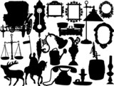Vector silhouettes of the retro objects poster