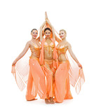young trio dancing arabian dance. isolated on white poster