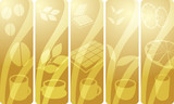 Stylized panel design illustration of assorted beverages poster