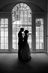 Wedding couple silhouetted