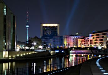 berlin, regierungviertel, spree und fernsehturm