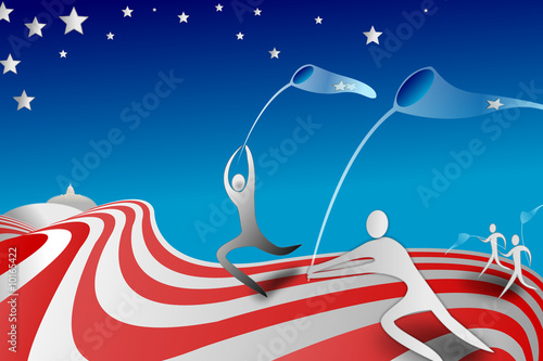 Election day, two candidates collect stars of American flag.