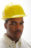 young African American man in a hardhat poster