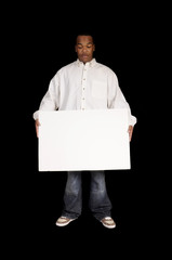 young African American man with a white sign board