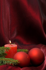 Christmas composition on purple background, with copy space