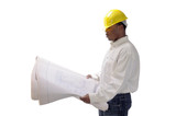 young African American contractor studying plans poster