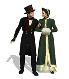 3D render depicting a Victorian couple taking a stroll. poster