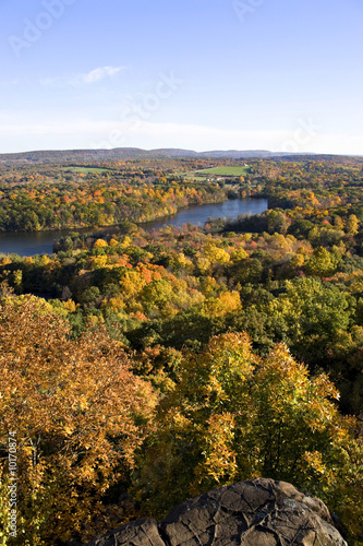 A shot of New England during early autumn at peak foliage.