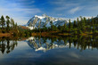Mount Shuksan reflected across Picture lake during autumn