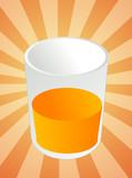 Glass of orange juice, beverage in cup, illustration poster