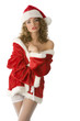 cute and sexy girl with santa claus dress and white stocking