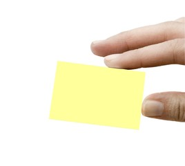 Blank isolated card in fingers