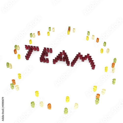 "The word ""team"" composed from many red gummy bears."