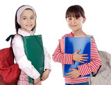 Two girls students returning to school on a white background poster