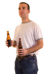 A young man holding two beer, isolated on white