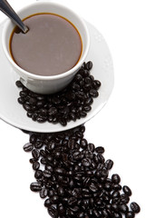 Cup of expresso coffee on a over white background