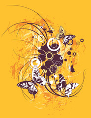 Yellow floral swirl with butterflies, vector illustration